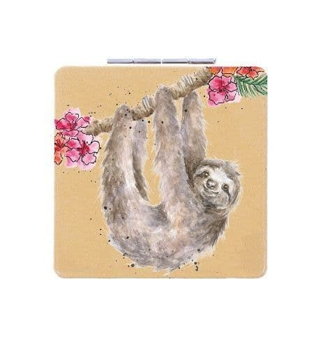 Hanging Around Sloth Wrendale Designs Compact Mirror